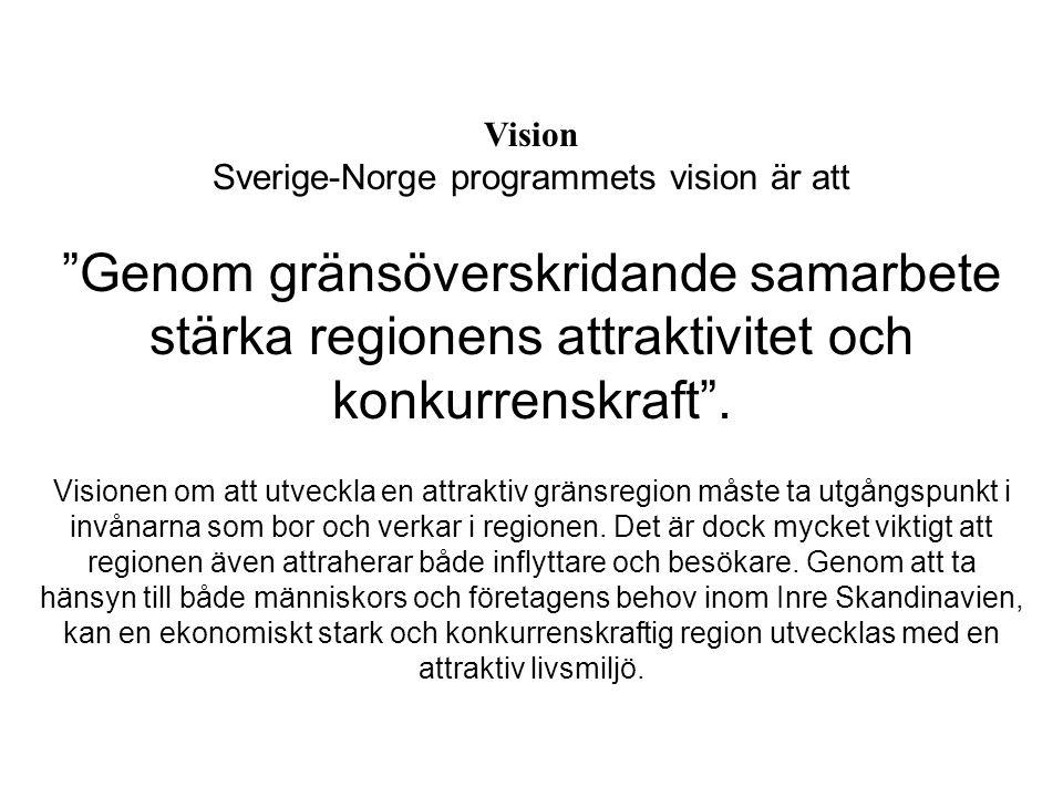 Vision Sverige-Norge programmets vision är att Genom gränsöverskridande samarbete stärka regionens attraktivitet och konkurrenskraft .
