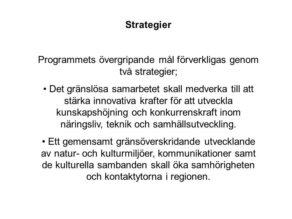 Strategier Programmets övergripande mål förverkligas genom två strategier; • Det gränslösa samarbetet skall medverka till att stärka innovativa krafter för att utveckla kunskapshöjning och konkurrenskraft inom näringsliv, teknik och samhällsutveckling.