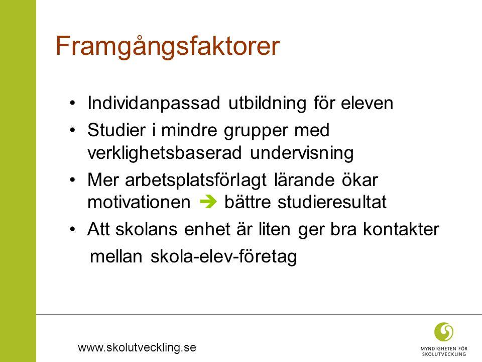 www.skolutveckling.se Framgångsfaktorer •Individanpassad utbildning för eleven •Studier i mindre grupper med verklighetsbaserad undervisning •Mer arbe