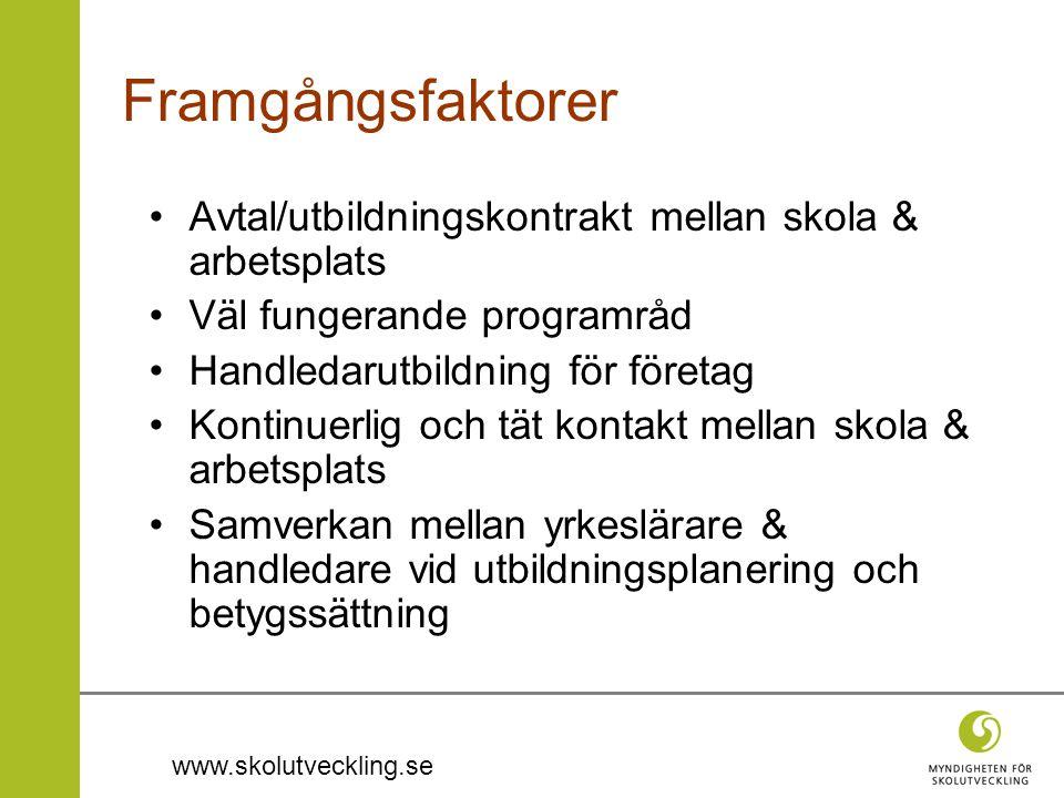 www.skolutveckling.se Framgångsfaktorer •Avtal/utbildningskontrakt mellan skola & arbetsplats •Väl fungerande programråd •Handledarutbildning för före