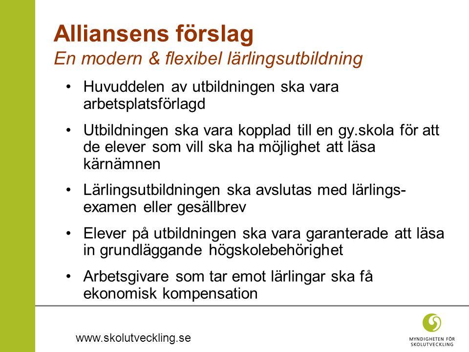 www.skolutveckling.se Alliansens förslag En modern & flexibel lärlingsutbildning •Huvuddelen av utbildningen ska vara arbetsplatsförlagd •Utbildningen