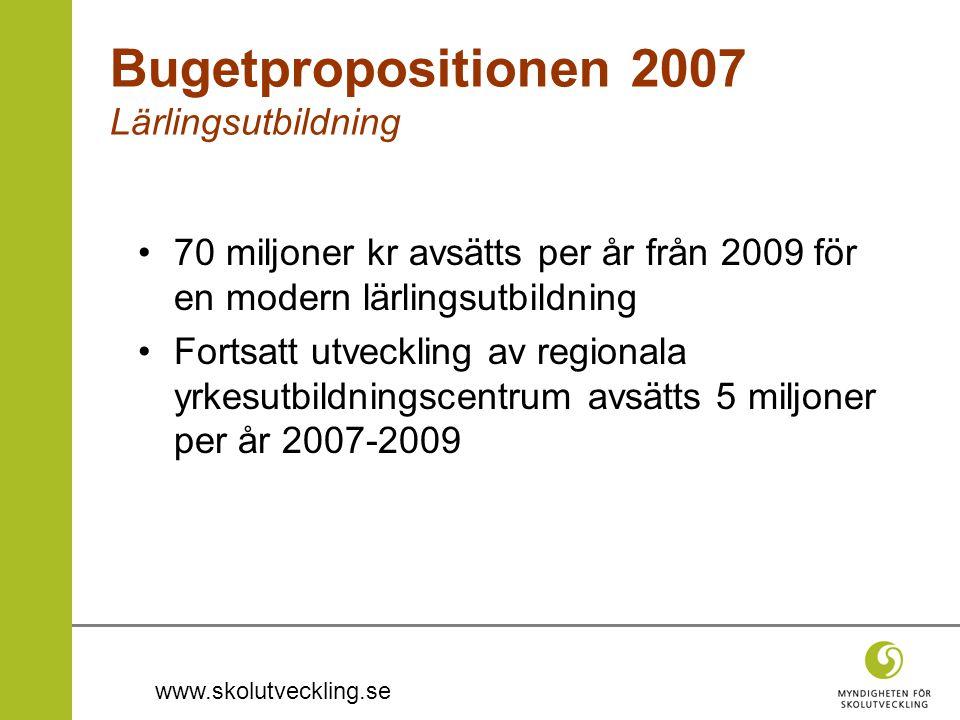 www.skolutveckling.se •70 miljoner kr avsätts per år från 2009 för en modern lärlingsutbildning •Fortsatt utveckling av regionala yrkesutbildningscent