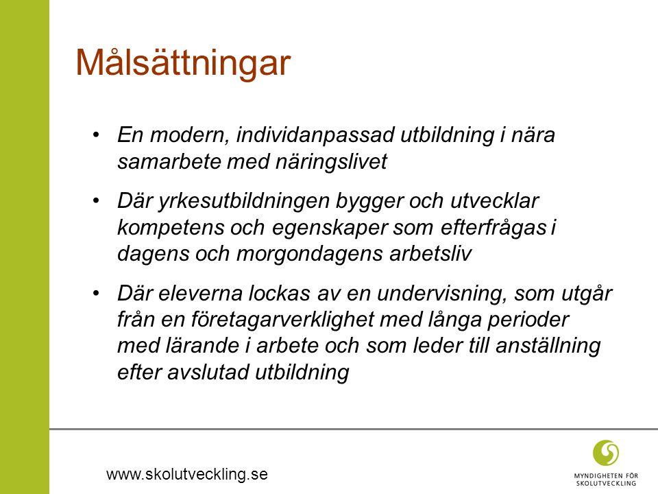 www.skolutveckling.se Målsättningar •En modern, individanpassad utbildning i nära samarbete med näringslivet •Där yrkesutbildningen bygger och utveckl