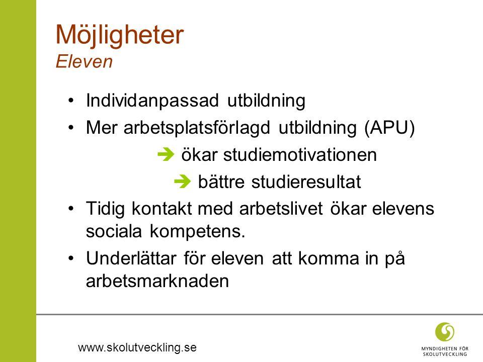 www.skolutveckling.se Möjligheter Eleven •Individanpassad utbildning •Mer arbetsplatsförlagd utbildning (APU)  ökar studiemotivationen  bättre studi