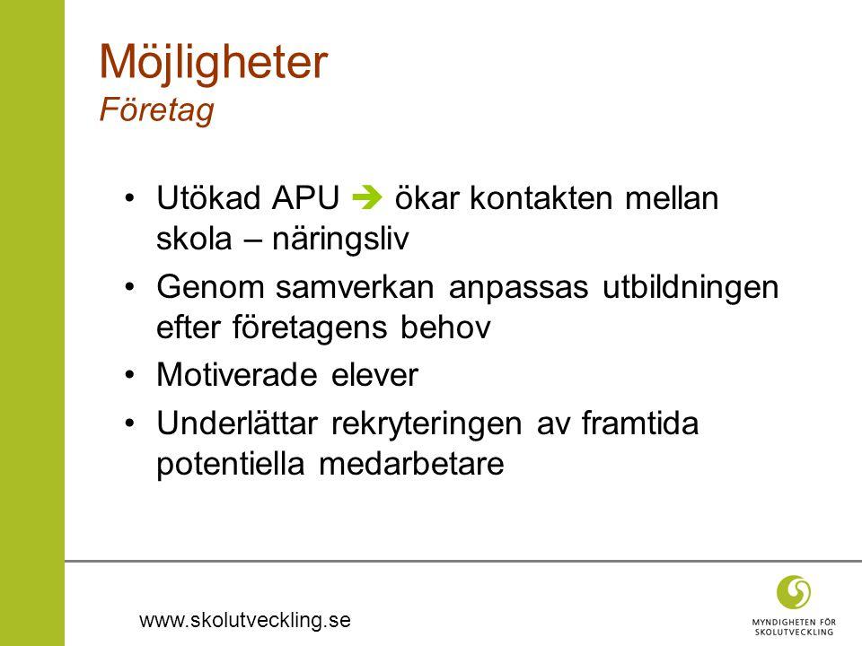 www.skolutveckling.se •Utökad APU  ökar kontakten mellan skola – näringsliv •Genom samverkan anpassas utbildningen efter företagens behov •Motiverade
