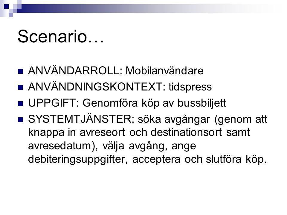 Scenario…  ANVÄNDARROLL: Mobilanvändare  ANVÄNDNINGSKONTEXT: tidspress  UPPGIFT: Genomföra köp av bussbiljett  SYSTEMTJÄNSTER: söka avgångar (geno