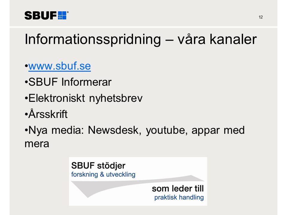 12 Informationsspridning – våra kanaler •www.sbuf.sewww.sbuf.se •SBUF Informerar •Elektroniskt nyhetsbrev •Årsskrift •Nya media: Newsdesk, youtube, ap