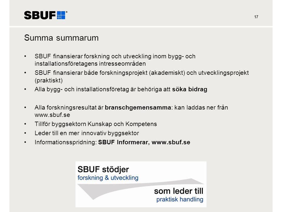 17 Summa summarum •SBUF finansierar forskning och utveckling inom bygg- och installationsföretagens intresseområden •SBUF finansierar både forskningsp