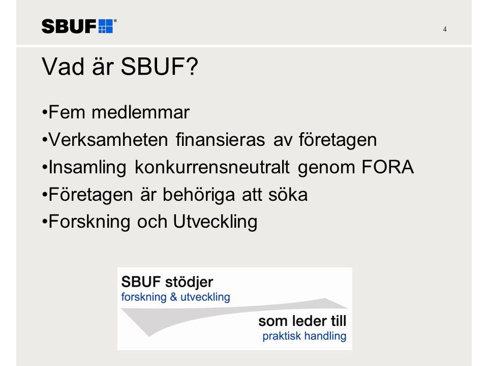 4 Vad är SBUF? •Fem medlemmar •Verksamheten finansieras av företagen •Insamling konkurrensneutralt genom FORA •Företagen är behöriga att söka •Forskni