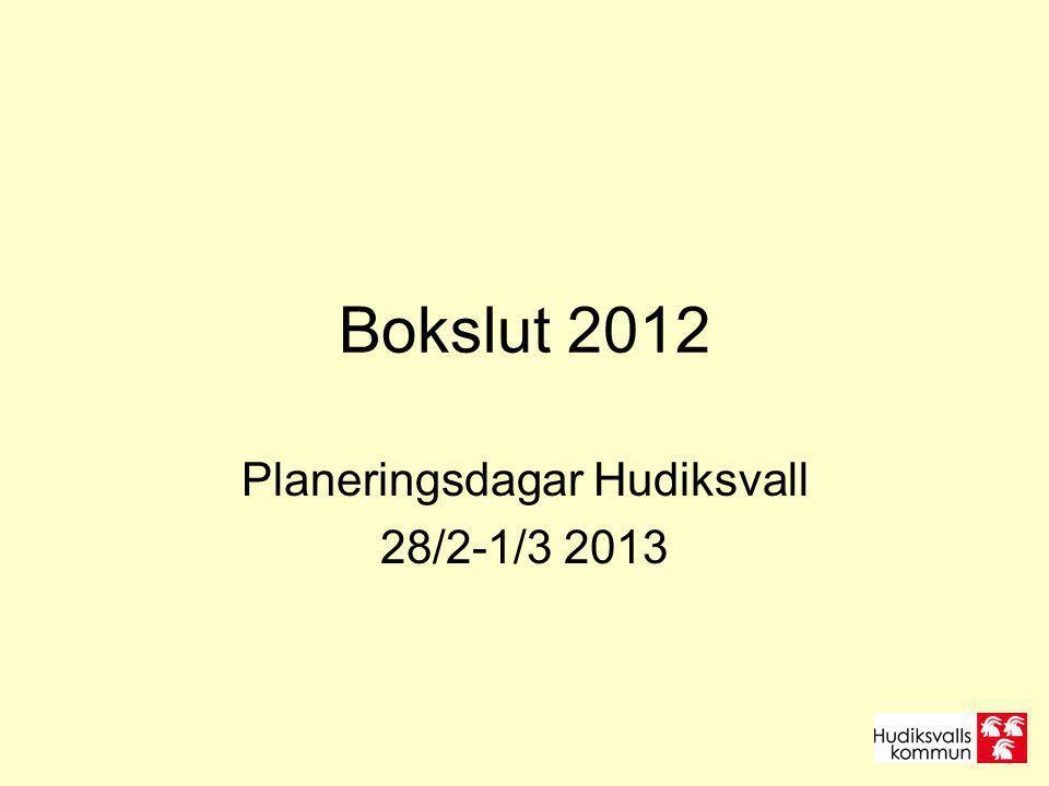 Bokslut 2012 Planeringsdagar Hudiksvall 28/2-1/3 2013
