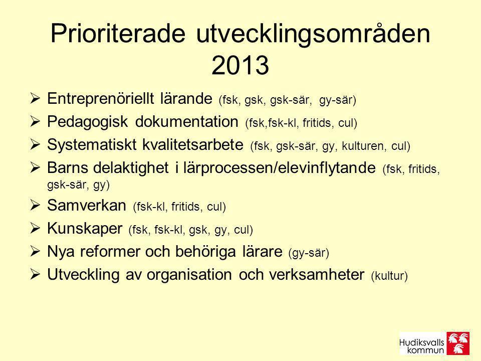 Prioriterade utvecklingsområden 2013  Entreprenöriellt lärande (fsk, gsk, gsk-sär, gy-sär)  Pedagogisk dokumentation (fsk,fsk-kl, fritids, cul)  Systematiskt kvalitetsarbete (fsk, gsk-sär, gy, kulturen, cul)  Barns delaktighet i lärprocessen/elevinflytande (fsk, fritids, gsk-sär, gy)  Samverkan (fsk-kl, fritids, cul)  Kunskaper (fsk, fsk-kl, gsk, gy, cul)  Nya reformer och behöriga lärare (gy-sär)  Utveckling av organisation och verksamheter (kultur)