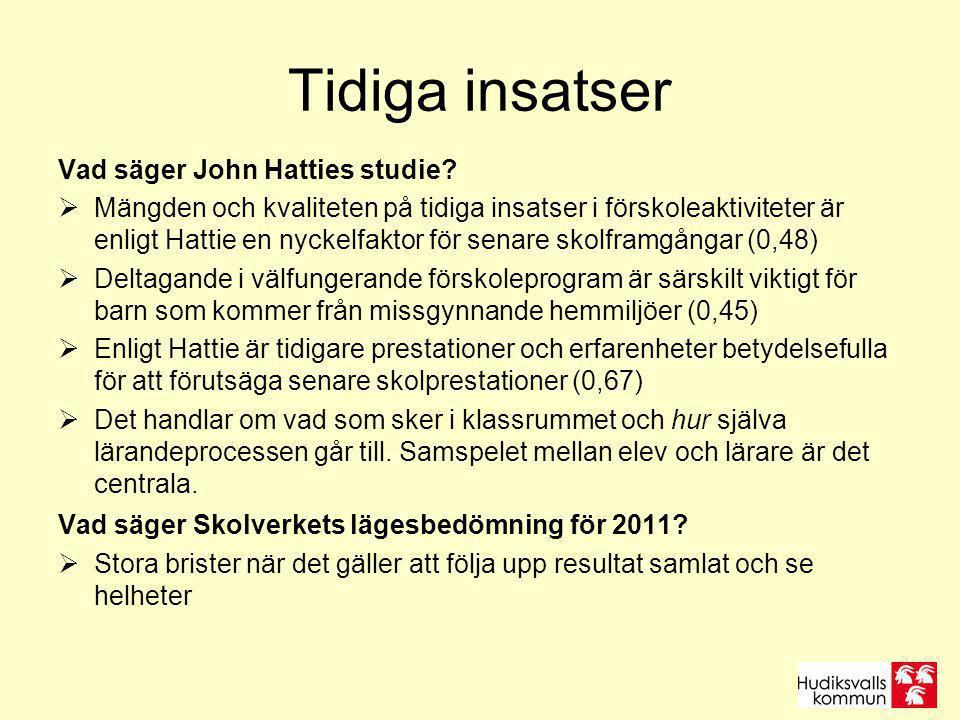 Tidiga insatser Vad säger John Hatties studie?  Mängden och kvaliteten på tidiga insatser i förskoleaktiviteter är enligt Hattie en nyckelfaktor för