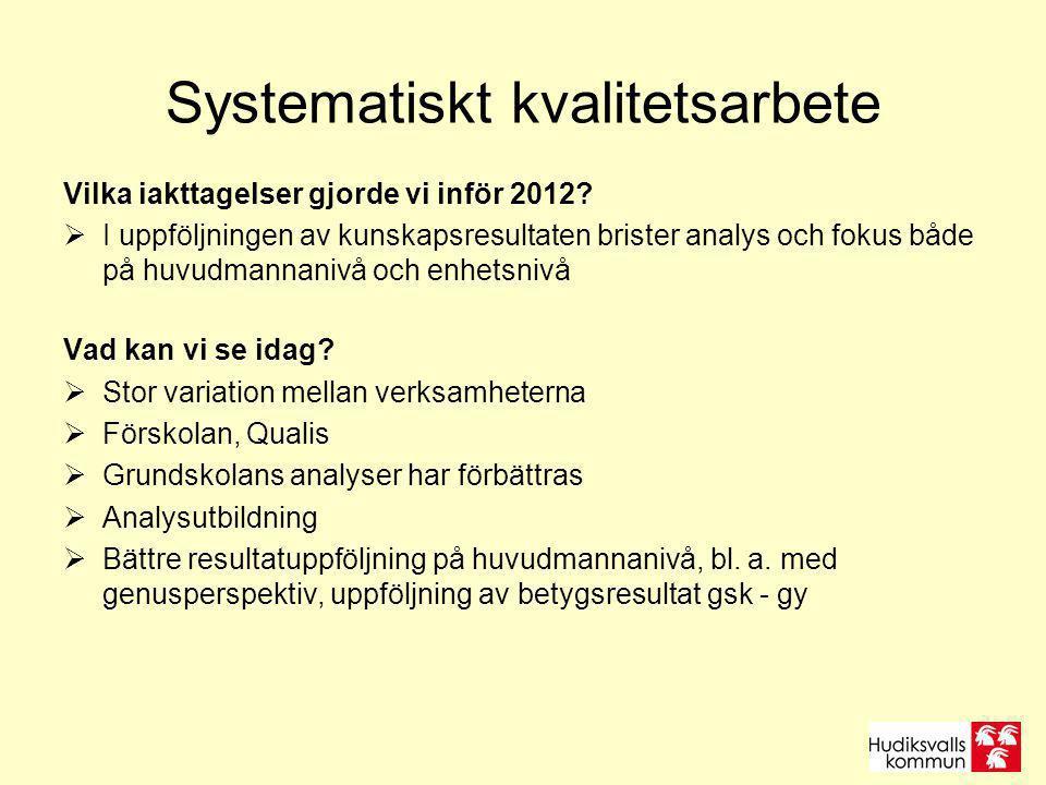 Systematiskt kvalitetsarbete Vilka iakttagelser gjorde vi inför 2012?  I uppföljningen av kunskapsresultaten brister analys och fokus både på huvudma