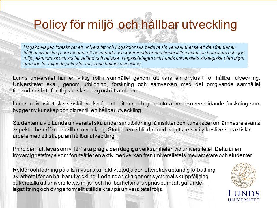 Policy för miljö och hållbar utveckling Lunds universitet har en viktig roll i samhället genom att vara en drivkraft för hållbar utveckling. Universit