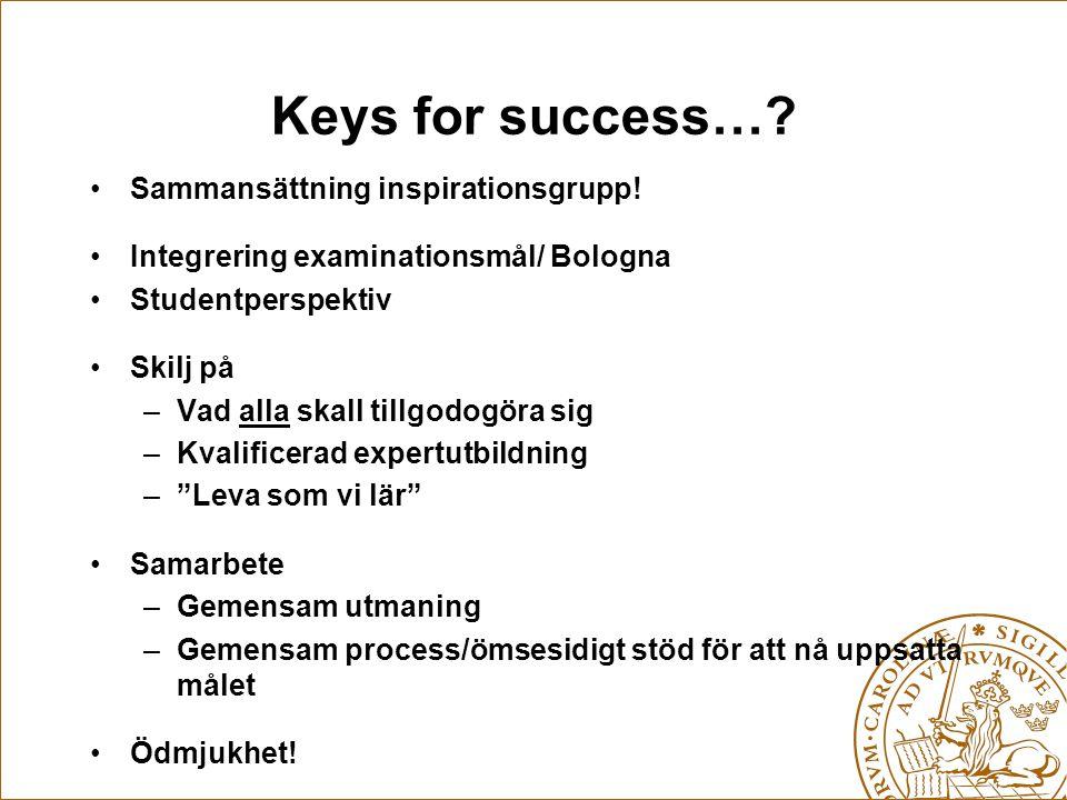 Keys for success…? •Sammansättning inspirationsgrupp! •Integrering examinationsmål/ Bologna •Studentperspektiv •Skilj på –Vad alla skall tillgodogöra