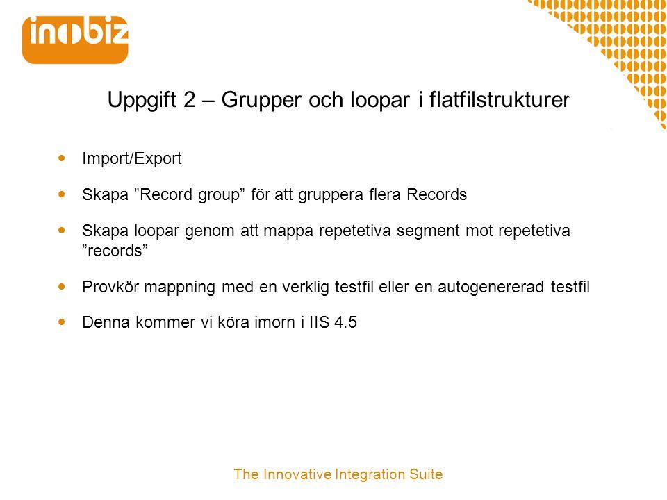 """Uppgift 2 – Grupper och loopar i flatfilstrukturer  Import/Export  Skapa """"Record group"""" för att gruppera flera Records  Skapa loopar genom att mapp"""