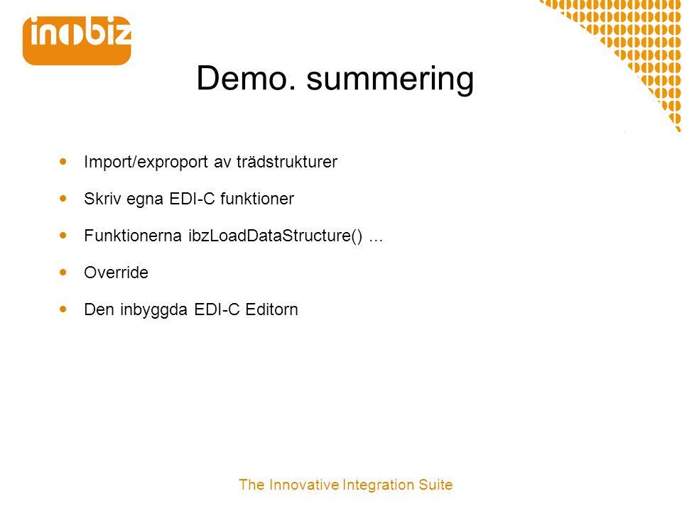 Demo. summering  Import/exproport av trädstrukturer  Skriv egna EDI-C funktioner  Funktionerna ibzLoadDataStructure()...  Override  Den inbyggda