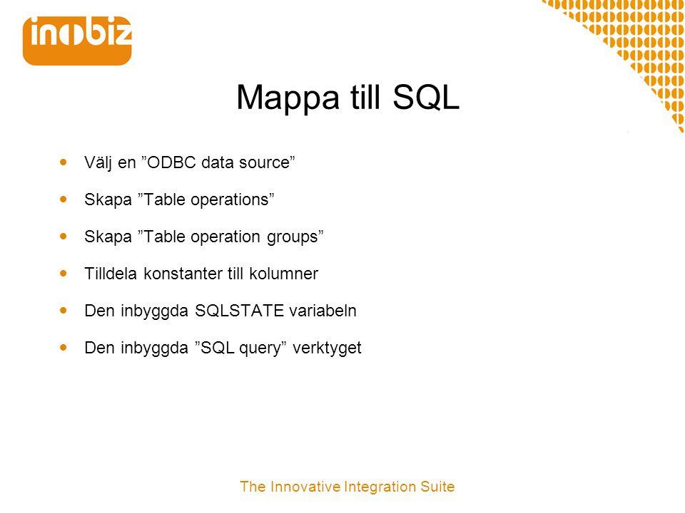 """Mappa till SQL  Välj en """"ODBC data source""""  Skapa """"Table operations""""  Skapa """"Table operation groups""""  Tilldela konstanter till kolumner  Den inby"""