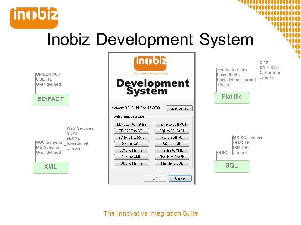 Inobiz Development System; filer  Kompilera och spara projektet .eds – Project filen .pgm – Källkod .cep – Compiled EDI-C program The Innovative Integration Suite