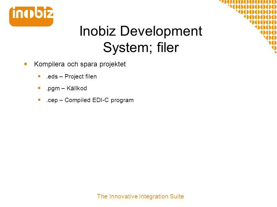 Inobiz Development System EDI-C EDIFACT XML UN/EDIFACT ODETTE User defined W3C Schema MS Schema User defined Web Services SOAP ebXML Rosetta.net...more Flat file Semicolon files Fixed fields User defined format Styles X.12 SAP iDOC Cargo imp...more SQL ODBC MS SQL Server ORACLE IBM DB2...more EBCDIC/ASCII COM EDI-API XML-API Flat file - API SQL-API String functions Log functions Date and time functions Call functions File system functions