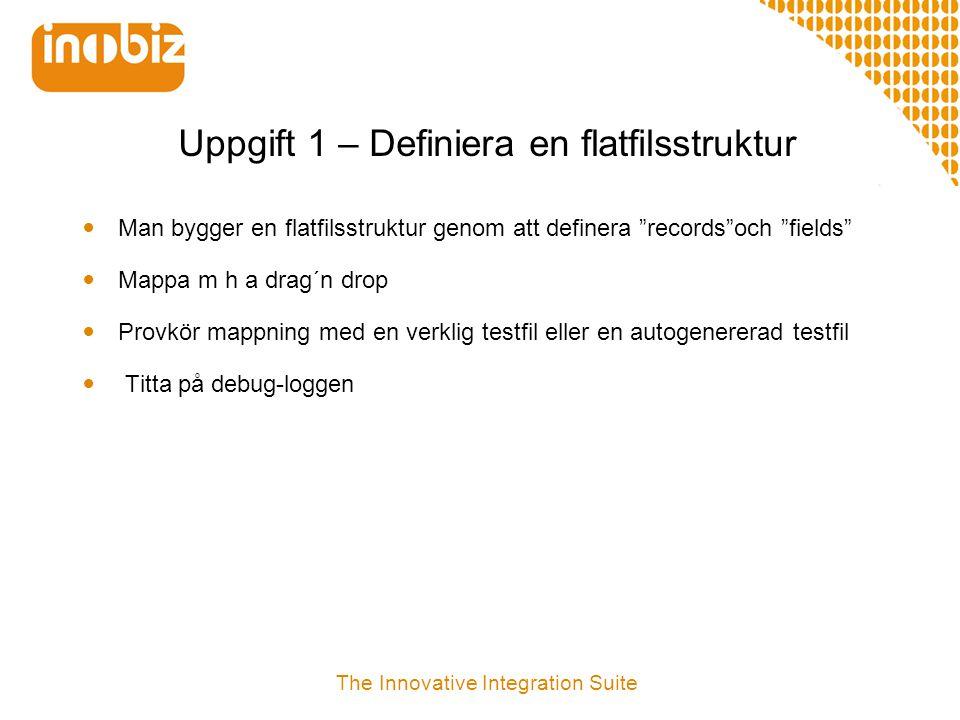 """Uppgift 1 – Definiera en flatfilsstruktur  Man bygger en flatfilsstruktur genom att definera """"records""""och """"fields""""  Mappa m h a drag´n drop  Provkö"""
