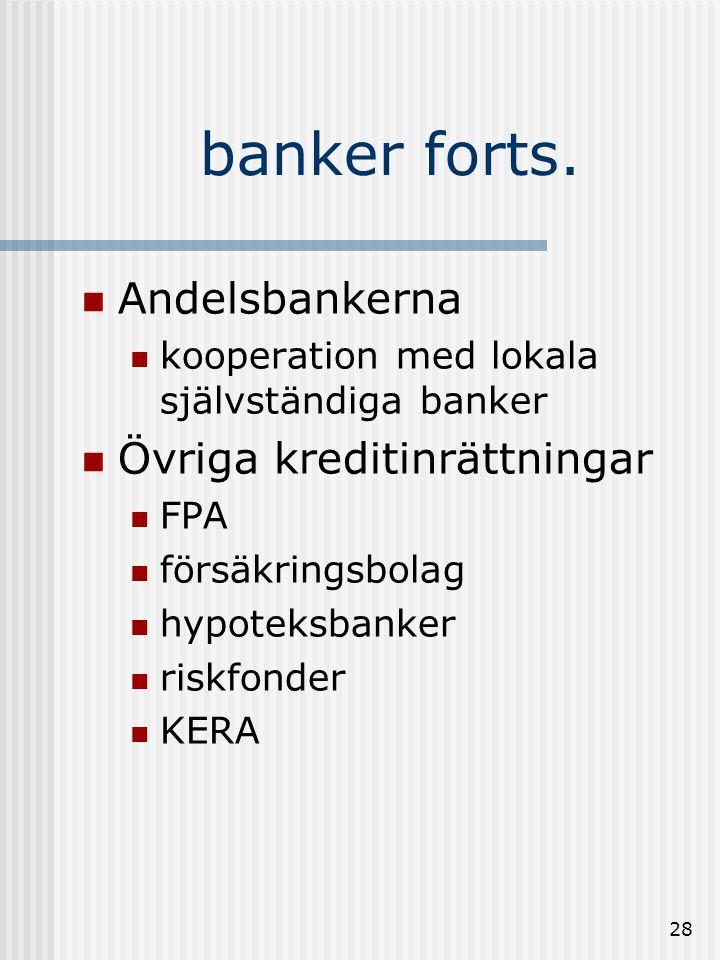 27 banker forts. Affärsbanker  bolag som gör affärer med pengar  ex.