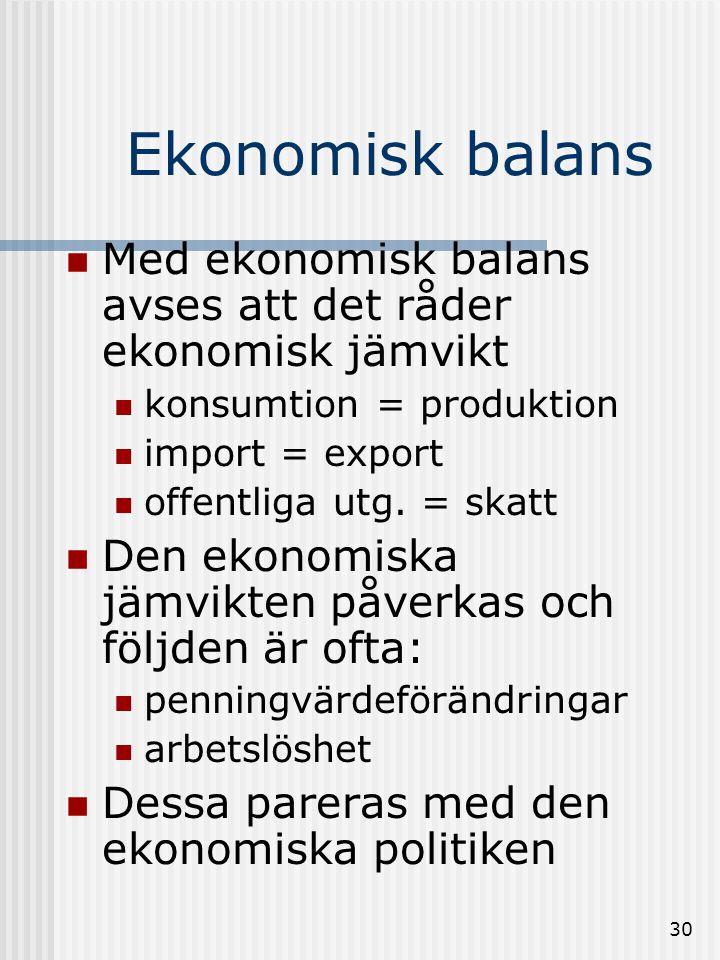 29 Offentlig ekonomi  Försörjningsbalansen  anger: •tillgångar •Bnp + import •användning •konsumtion •investeringar •export  försörjningsbalansen är av central betydelse då den visar hur tillgångarna förbrukas.