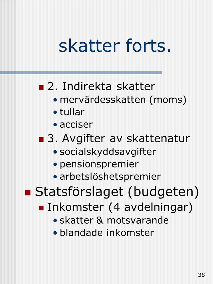 37 Offentlig finansiering  Skatternas funktion:  finansiera  styra  utjämna skillnader  Skatteformer:  1.