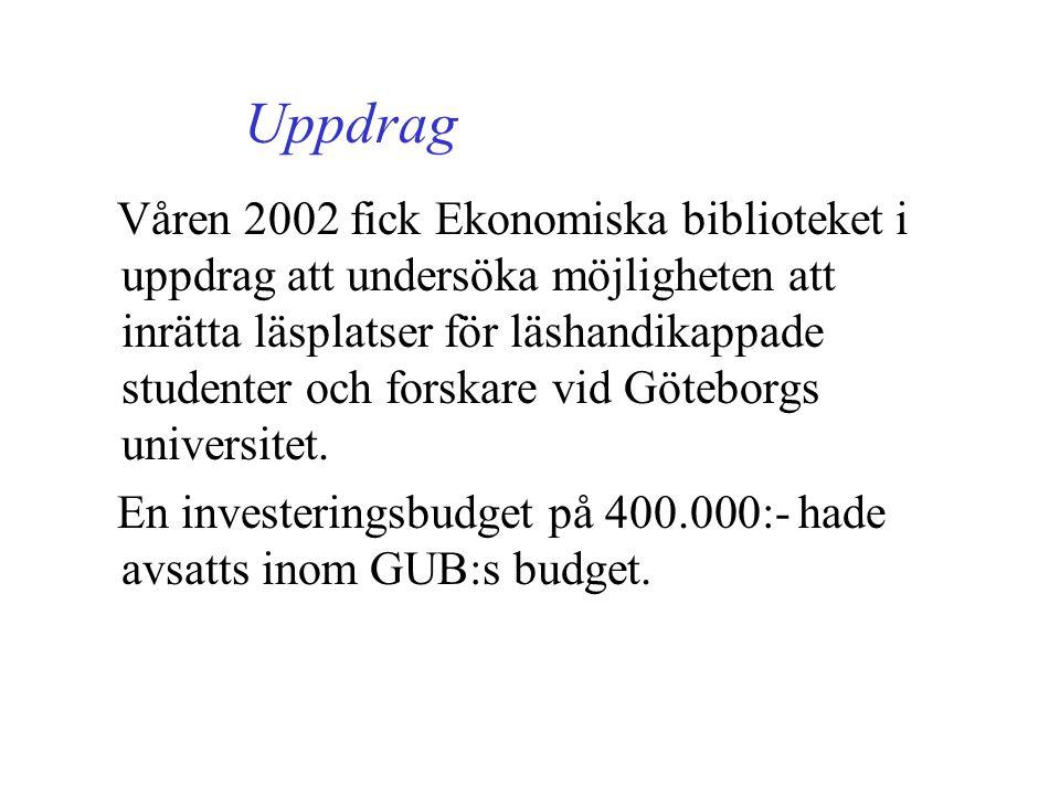 Uppdrag Våren 2002 fick Ekonomiska biblioteket i uppdrag att undersöka möjligheten att inrätta läsplatser för läshandikappade studenter och forskare vid Göteborgs universitet.