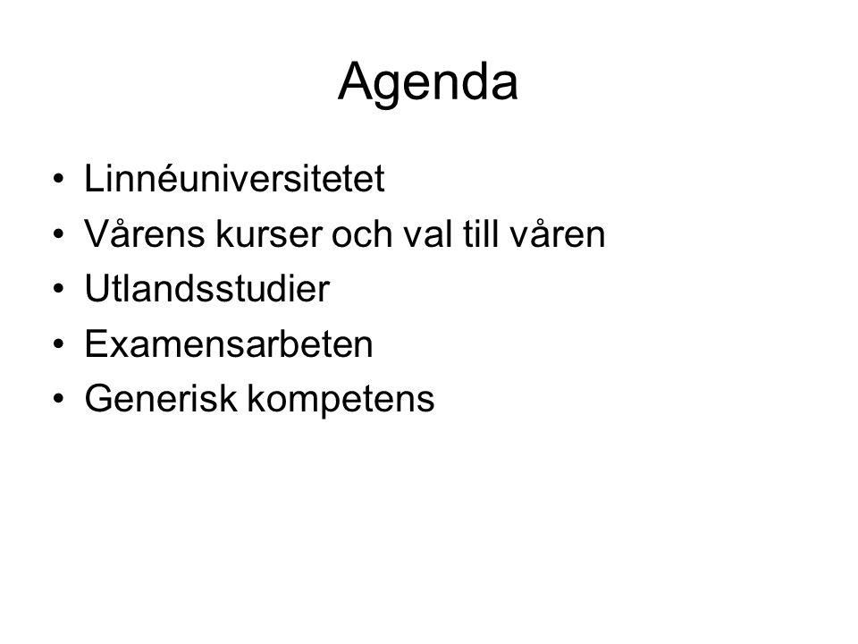 Agenda •Linnéuniversitetet •Vårens kurser och val till våren •Utlandsstudier •Examensarbeten •Generisk kompetens