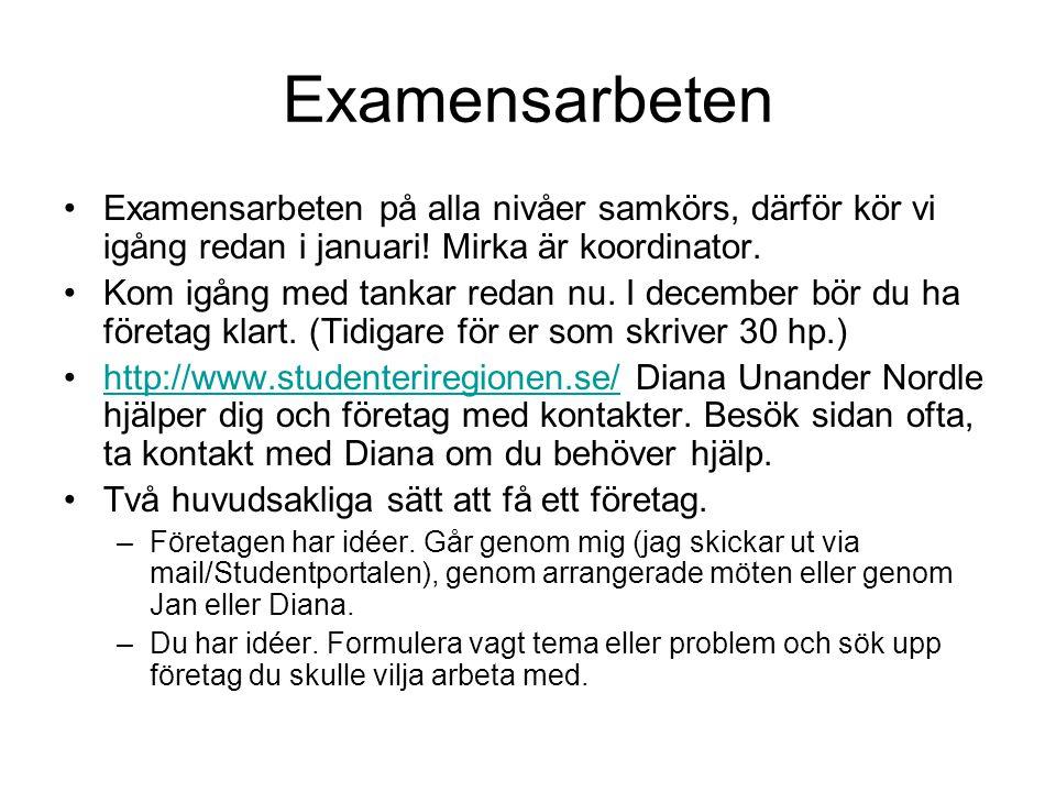Examensarbeten •Examensarbeten på alla nivåer samkörs, därför kör vi igång redan i januari! Mirka är koordinator. •Kom igång med tankar redan nu. I de