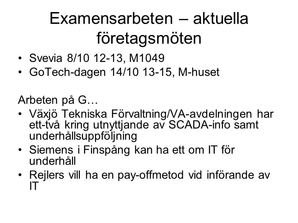 Examensarbeten – aktuella företagsmöten •Svevia 8/10 12-13, M1049 •GoTech-dagen 14/10 13-15, M-huset Arbeten på G… •Växjö Tekniska Förvaltning/VA-avde