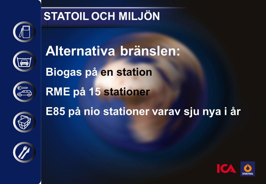 STATOIL OCH MILJÖN Alternativa bränslen: Biogas på en station RME på 15 stationer E85 på nio stationer varav sju nya i år
