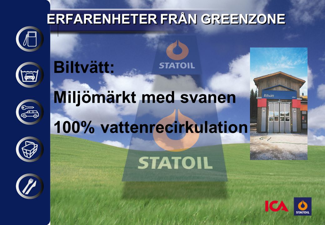 ERFARENHETER FRÅN GREENZONE Biltvätt: Miljömärkt med svanen 100% vattenrecirkulation