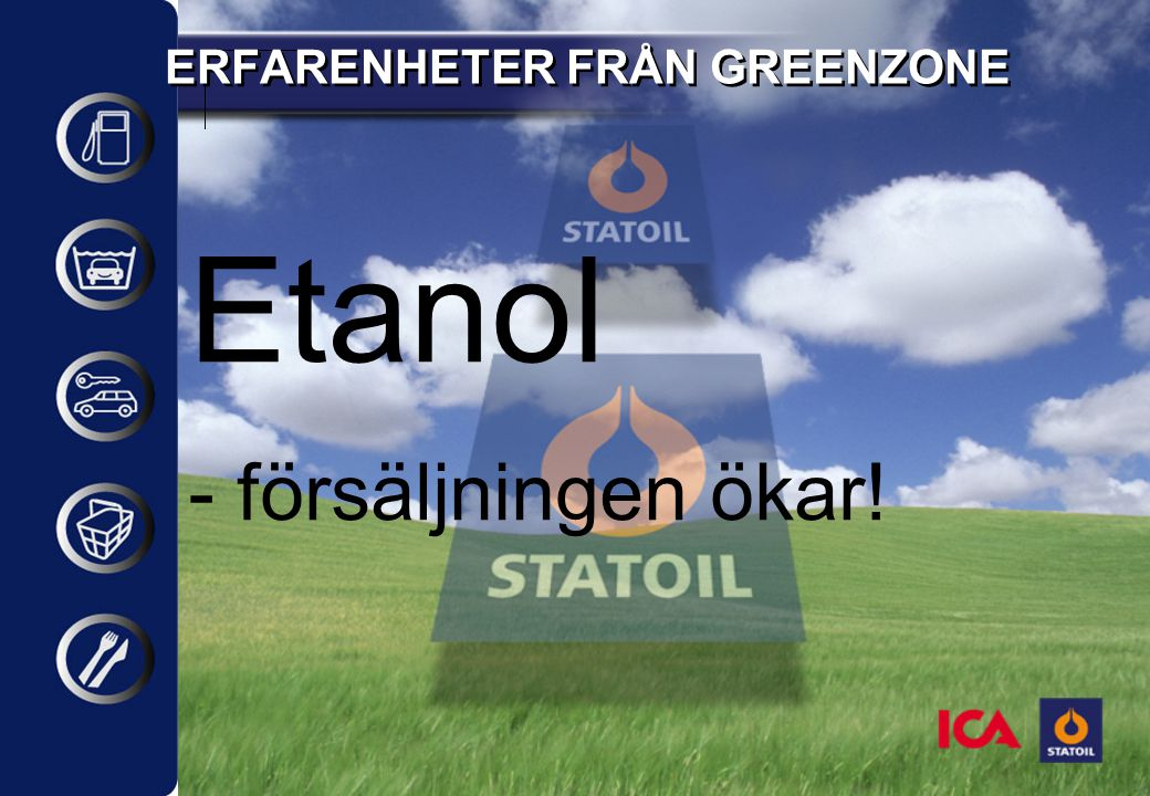 ERFARENHETER FRÅN GREENZONE Etanol - försäljningen ökar!