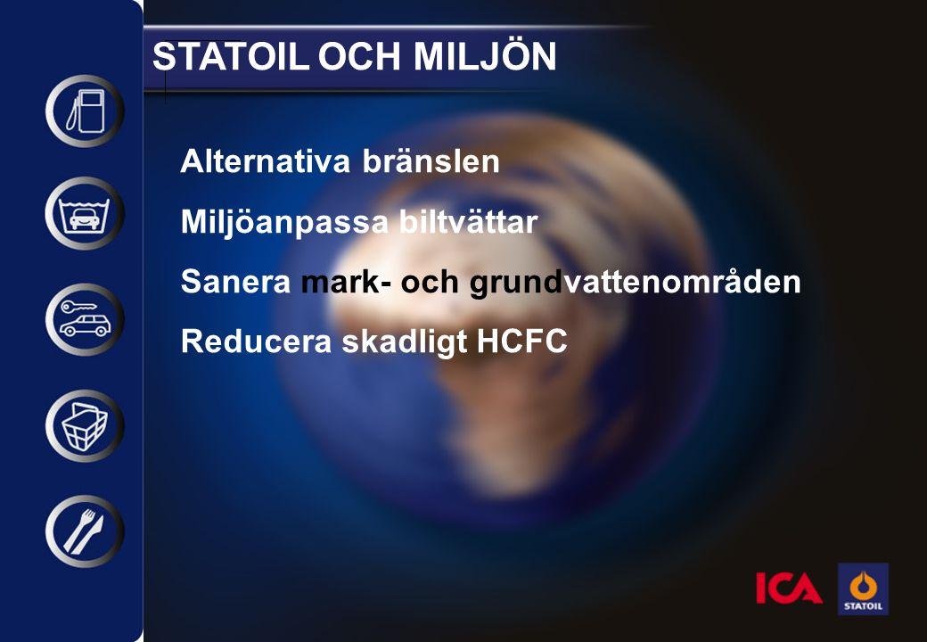 STATOIL OCH MILJÖN Alternativa bränslen Miljöanpassa biltvättar Sanera mark- och grundvattenområden Reducera skadligt HCFC