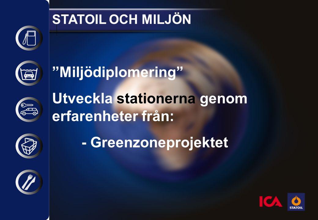 STATOIL OCH MILJÖN Miljödiplomering Utveckla stationerna genom erfarenheter från: - Greenzoneprojektet