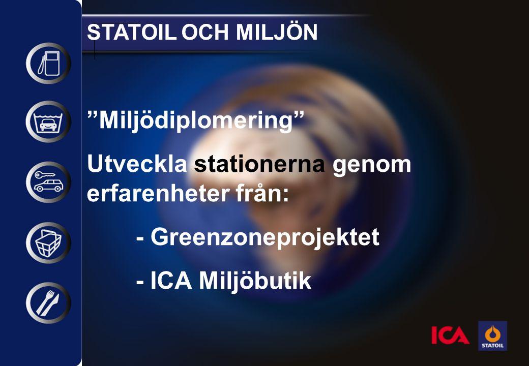 STATOIL OCH MILJÖN Miljödiplomering Utveckla stationerna genom erfarenheter från: - Greenzoneprojektet - ICA Miljöbutik