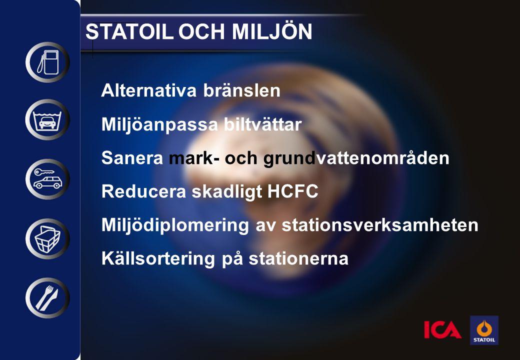 STATOIL OCH MILJÖN Alternativa bränslen Miljöanpassa biltvättar Sanera mark- och grundvattenområden Reducera skadligt HCFC Miljödiplomering av station