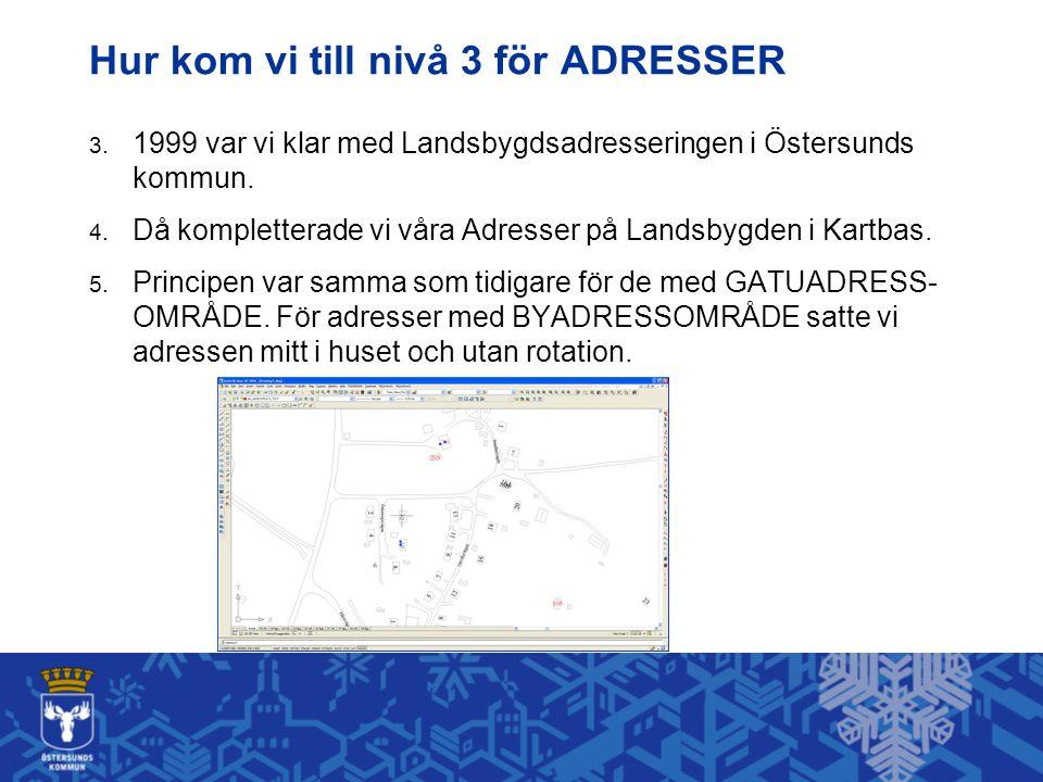 Hur kom vi till nivå 3 för ADRESSER 3. 1999 var vi klar med Landsbygdsadresseringen i Östersunds kommun. 4. Då kompletterade vi våra Adresser på Lands
