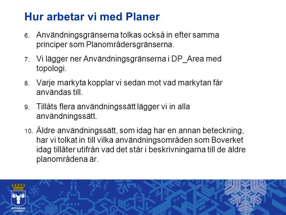 Hur arbetar vi med Planer 6. Användningsgränserna tolkas också in efter samma principer som Planområdersgränserna. 7. Vi lägger ner Användningsgränser