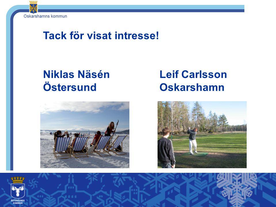 Tack för visat intresse! Niklas Näsén Leif Carlsson Östersund Oskarshamn