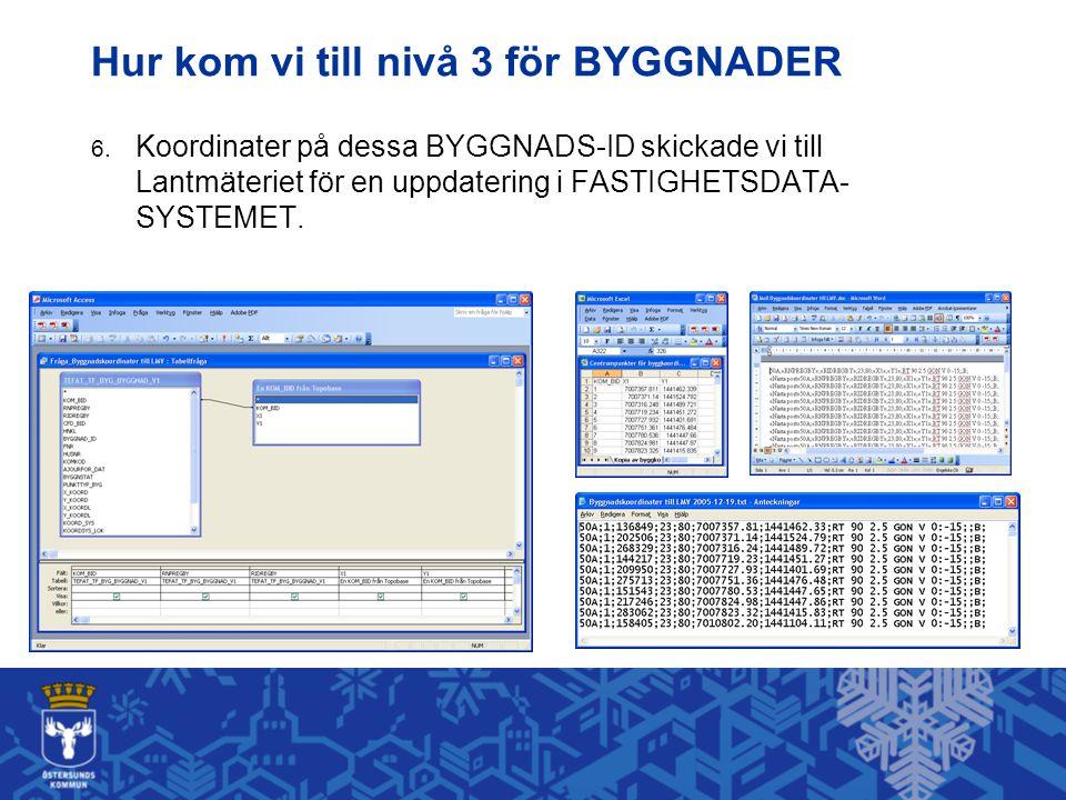 Hur kom vi till nivå 3 för BYGGNADER 6. Koordinater på dessa BYGGNADS-ID skickade vi till Lantmäteriet för en uppdatering i FASTIGHETSDATA- SYSTEMET.