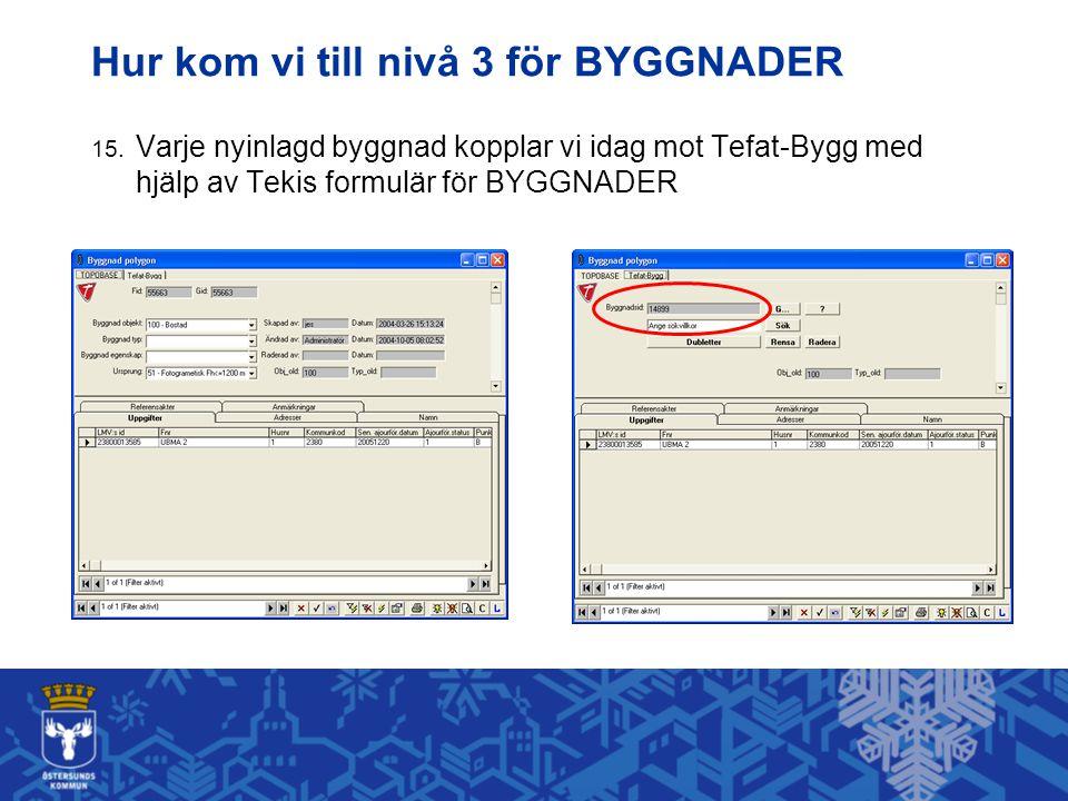 Hur kom vi till nivå 3 för BYGGNADER 15. Varje nyinlagd byggnad kopplar vi idag mot Tefat-Bygg med hjälp av Tekis formulär för BYGGNADER