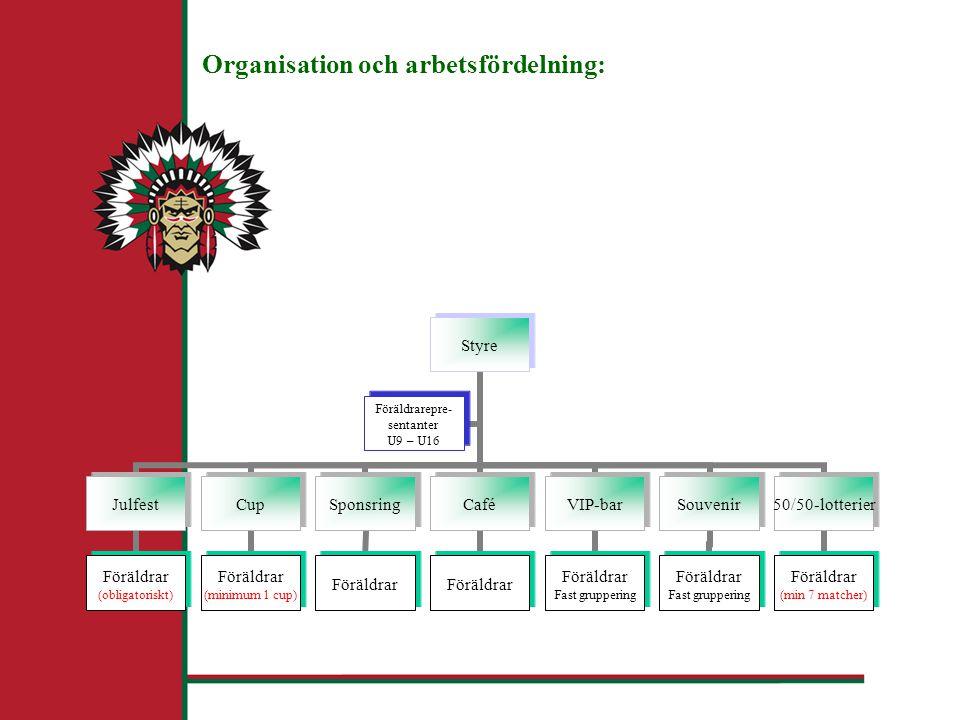 Organisation och arbetsfördelning: Styre Julfest Föräldrar (obligatoriskt) Cup Föräldrar (minimum 1 cup) Sponsring Föräldrar Café Föräldrar VIP-bar Föräldrar Fast gruppering Souvenir Föräldrar Fast gruppering 50/50-lotterier Föräldrar (min 7 matcher) Föräldrarepre- sentanter U9 – U16