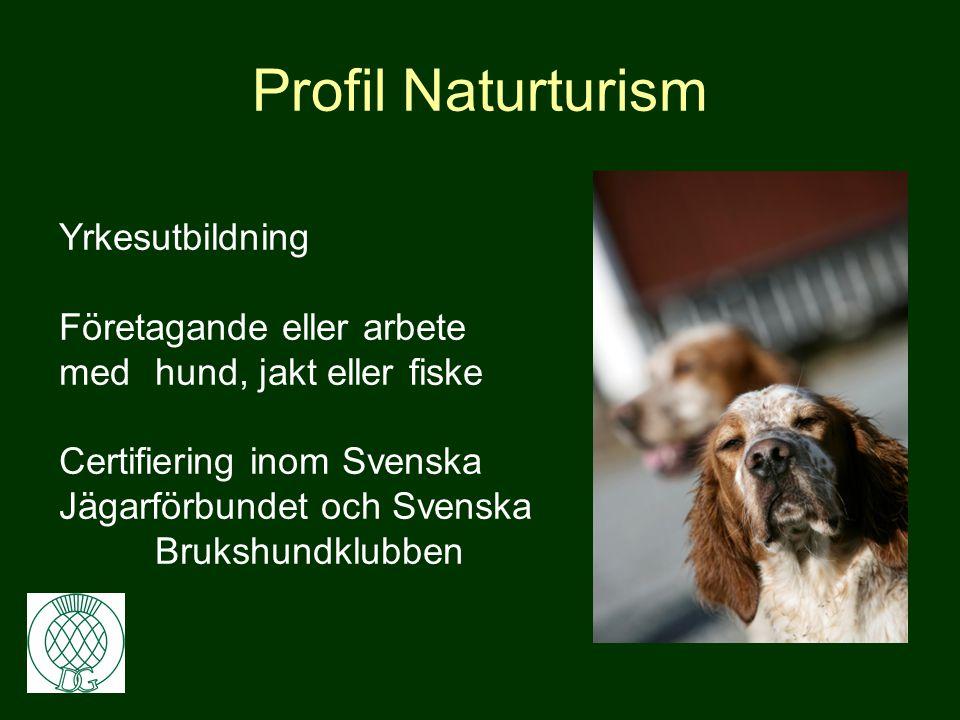 Profil Naturturism •Jakt •Hund – draghund & jakthund •Fiske