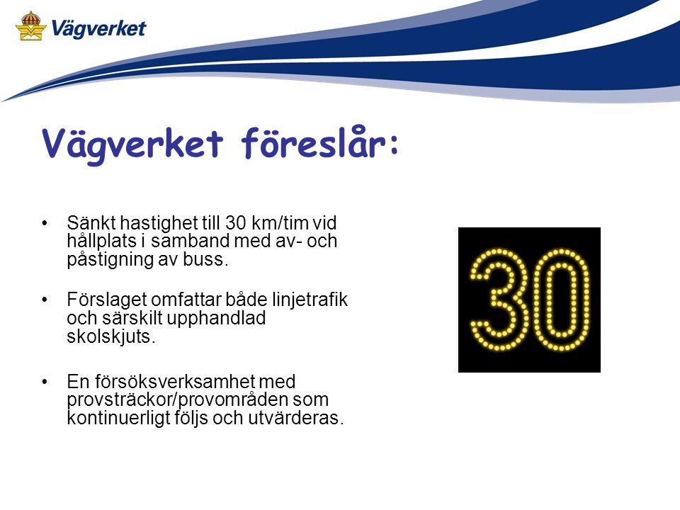•Sänkt hastighet till 30 km/tim vid hållplats i samband med av- och påstigning av buss.
