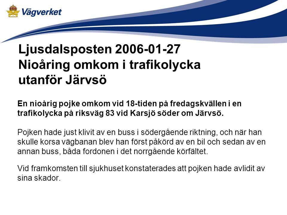 Ljusdalsposten 2006-01-27 Nioåring omkom i trafikolycka utanför Järvsö En nioårig pojke omkom vid 18-tiden på fredagskvällen i en trafikolycka på riks