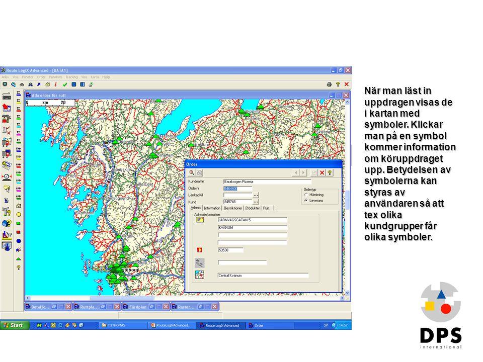 Order i kartan1 När man läst in uppdragen visas de i kartan med symboler. Klickar man på en symbol kommer information om köruppdraget upp. Betydelsen