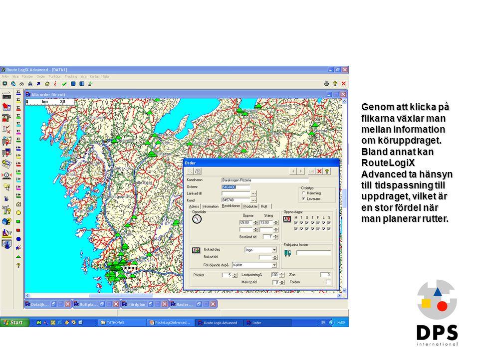 Order i kartan 2 Genom att klicka på flikarna växlar man mellan information om köruppdraget. Bland annat kan RouteLogiX Advanced ta hänsyn till tidspa